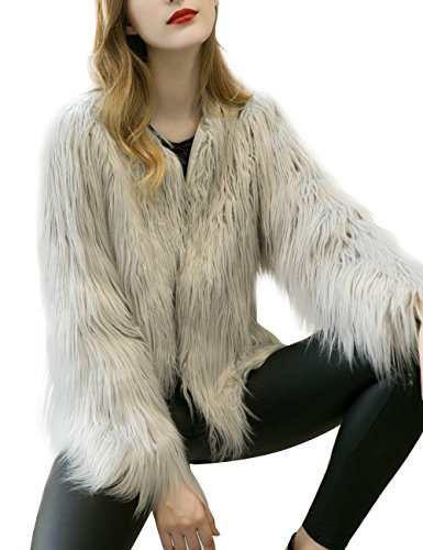 Paris Hill Damen Flauschige Faux Pelz Mantel Winter Langarm Jacke Grau XL (Burning Man Mädchen Kostüme)