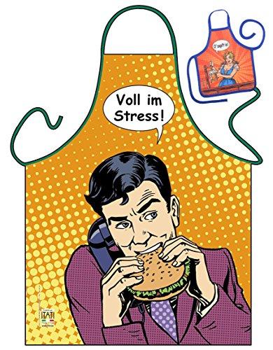 Voll im Streß - Grillschürze Küchenschürze Backschürze Servierschürze Themenschürze, Kochschürze mit lustiger Minischürze (Volle Latzschürze)