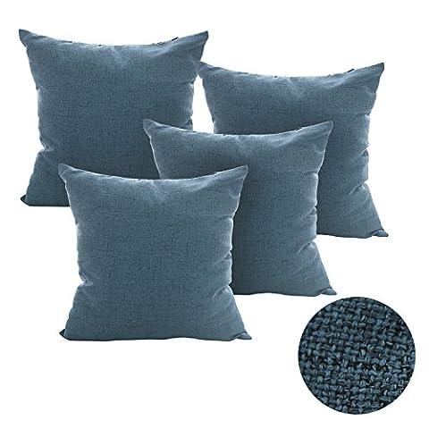 Deconovo Lot 4 Housses de Coussin Carré Effet Lin Taie Coussin Canapé Taie d'Oreiller Housse Coussin Doux Bleu 45x45cm