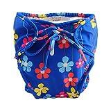 Blaue, verstellbare Säuglingsschwimm-Windel mit Krawatten, Größe Medium [Blumen]