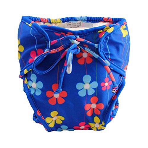 Pannolino da bagno infantile blu regolabile con lacci, dimensioni medie [fiori]