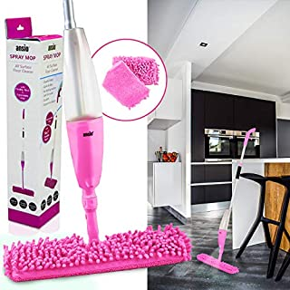 ANSIO Spray Floor Mop with Microfiber Pad *** Lifetime Replacement Guarantee*** (Machine Washable) & Refillable Bottle. Suitable for Wooden, Vinyl, Marble & Tiles Floors - Pink