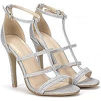 Ladies Glitter Argento Punta Aperta Con Il Cinturino Cinturino Alla Caviglia A Spillo Tacchi Alti Scarpe