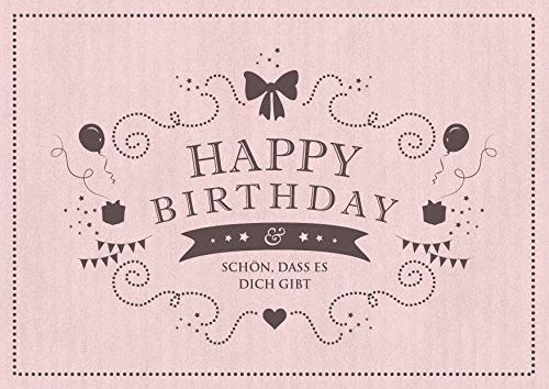 """""""Happy Birthday - Schön, dass es Dich gibt"""" Glückwunschkarte zum Geburtstag in altrosa (Grußkarte/Klappgrusskarte/Liebe/Geburtstagskarte) im Retro-Vintage-Packpapier-LooK"""" (Mit Umschlag)"""
