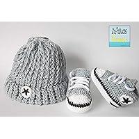 Zapatillas deportivas de crochet estilo converse con gorro incluido para bebe, Talla 0-3