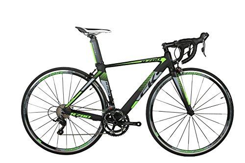 rich bit® R780Road Race bicicletta 18velocità 9marce cassette ultra leggero in fibra di carbonio forcella Shimano 3500700C * 46/48cm colori disponibili, Green, 46 - Strada Del Carbonio Frame Set