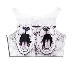 Lovelife' - Angry Dogs Patterned Digital Printed One Size Mini Vest Rave Crop Tank Short Top Shirt