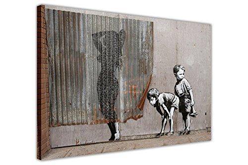 Leinwandbild, gerahmt, Motiv: Banksy - ausgesetzte Kinder, Dismaland-Sammlung, canvas holz, 04- 30