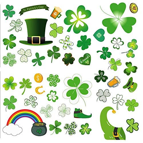 Sayala 96 Stück St. Patrick's Day Fensteraufkleber,St. Patrick's Day Geschenke Sticker Irish Shamrock Clover Selbstklebende Wandaufkleber Home Schlafzimmer Dekoration St. Patrick's Day Zubehör