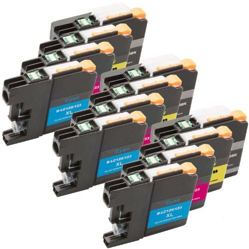 4neue Version Premium Qualität Hohe Kapazität 100% Tintenpatronen für Brother LC-123Pack J470DW, MFCJ870DW, J245, mfc-j650dw, dcp-j552dw, J752DW, mfc-j6920dw, mfc-j6720dw, mfc-j6520dw kompatibel mit LC123(1schwarz 1Cyan 1Magenta 1Gelb) LC123 Set Triple -
