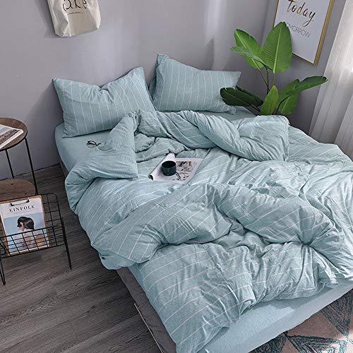 H HOUSEHOLD Bettbezug, 100% Baumwolle, Jersey, gestrickt, bequem, superweich, inkl. 2 Kissenbezüge, gestreift Queen Stripe Aqua Blue -