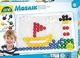 Lena 35609 - Mosaik Steckspiel Set mit 120 farbigen Mosaikstecker groß, je 15 mm und Stiftplatte 28 x 19,5 cm, Steckmosaik für Kinder ab 3 Jahre, mit Steckvorlagen Tiere, Blumen und Fahrzeuge