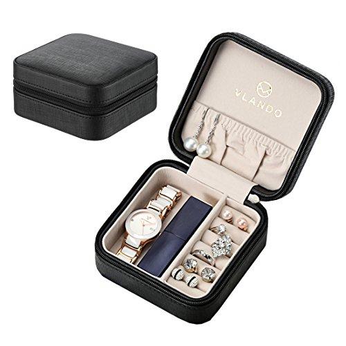 Vlando kleine Schmuckschatulle zur Aufbewahrung von Ringen, Ohrringen, Ketten, mit Spiegel, aus Kunstleder, schwarz, S