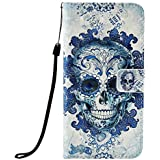 Huawei P Smart 2019 Case Flip, 3D Premium Soft PU Leather Shockproof Wallet Cover with Magnetic Stand Card Holder ID Slot Folio TPU Bumper Protective Phone Case for Huawei P Smart Cloud Skull
