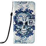 Samsung Galaxy S10 Plus Case Flip, 3D PU Leather Shockproof Wallet Cover with Magnetic Stand Card Holder ID Slot Folio TPU Bumper Protective Phone Case for Samsung Galaxy S10 Plus Cloud Skull