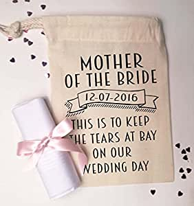 mother of the bride small gift bag and cotton handkerchief to keep
