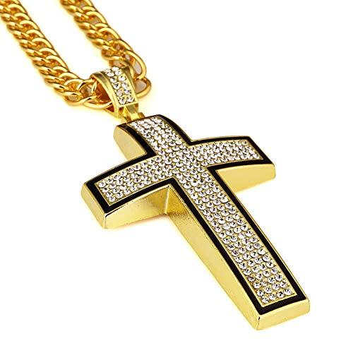 ZSML Mens Halskette Anhänger, 18K Gelbgold plattiert Kreuz Zirkon Anhänger 80Cm Halskette Schmuck, kommt mit Samtbeutel,Gold (Saphir Ring Gelbgold Plattiert)