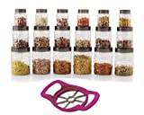 #3: Cello Checkers Plastic PET Canister Container Set, 18 Pieces, Transparent