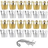 Poluka - 24 Sombreros de Fiesta con Cuerda de Papel, Gorro de cumpleaños para niños, Adultos, cumpleaños, Baby Shower, decoración de Celebraciones, Suministros de Fotos, Color Dorado, Plateado