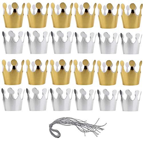 Poluka Partyhüte mit Seil aus Papier, Geburtstagsmütze, für Kinder, Erwachsene, Geburtstag, Babyparty, Party, Dekoration, Feier, Foto-Requisiten, Gold, Silber, 24 Stück