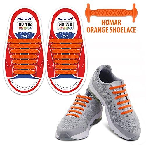 Homar Wasserdicht Reflektierende Kein Tie Kinder Schnürsenkel Elastische Sport Schnürsenkel für Sneakers Boots Skateboard Wandern Sport-Schuh - Orange