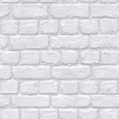 Rasch Ziegel Wand Muster Faux-effekt Weiß Stein Strukturtapete 226799