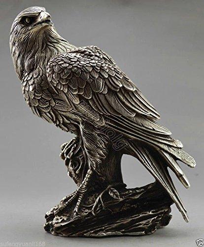 Liangliang988 Collectible verziert Old Handarbeit Tibet Silber Carve Adler auf Baum Box & Statue Metall Handarbeit (Hand Geschnitzt Adler)