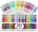 Supchamp Penne Gel Colorate, 30 Pcs Penne Gel Glitter per Bambini, Penne Colorate per Adulti da Colorare Disegno Scarabocchi Artigianato Scrapbook Proiettili Journaling (Colore Casuale e Stile)
