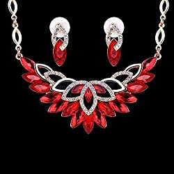 ELECTROPRIME Fashion Party Jewelry Set Red Gemstone Crystal Earrings Necklace Set Gold