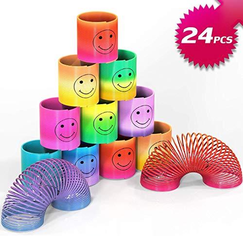 Osup 24PCS Springs Magic Rainbow, Lächeln Regenbogenkreis Regenbogen Strolche, Puzzle Lernspielzeug Spielzeug | Party | Mitgebsel Kinder Give Aways, Kindergeburtstag Mitgebsel für Jungen Mädchen