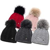 HEYO Damen Wintermütze mit Fleece Innenband H18513 | Slouch Beanie Winter Mütze | Warme Strickmütze mit Bommel | Bommelmütze in Verschiedenen Farben
