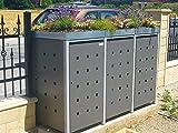 Mülltonnenbox Quadra aus Metall 3x 240 Liter