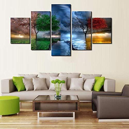 ACCEY Neue HD 5 Stück Moderne Dekorative Vier Jahreszeiten Bäume Landschaft Leinwand Wandkunstausgangsdekor Für Wohnzimmer Leinwand Painting-R1NoFrame -