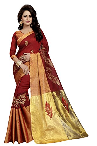 J B Fashion Women's Bhagalpuri red Saree With Blouse Piece