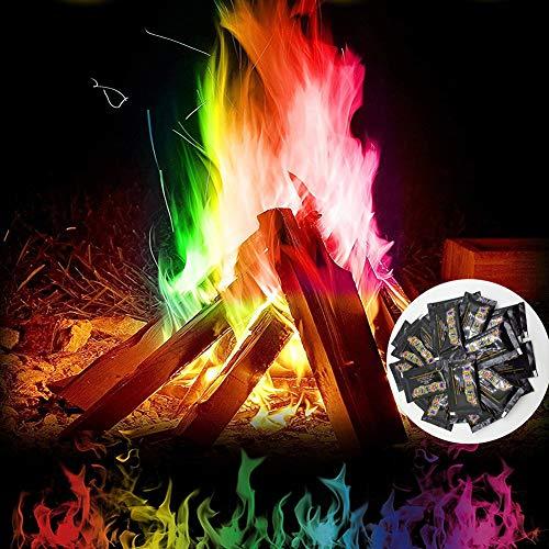 6 Stück Farbige Flammen, Magisches Pulver für Buntes Feuer, Mystical Fire, Cooler Zaubertrick mit Feuerfarben, Magical Dust für Holzfeuer in Kamin oder Feuerschale