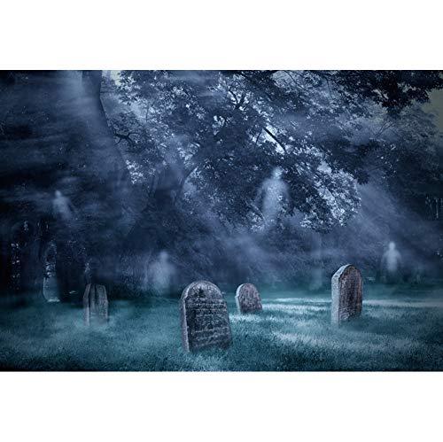 OERJU 1,5x1m Halloween Hintergrund Grabstein Geist Fotografie Unheimlicher Wald Mondlicht Rasen Hintergrund Süßes oder Saures Halloween Party Dekoration Porträt Requisiten