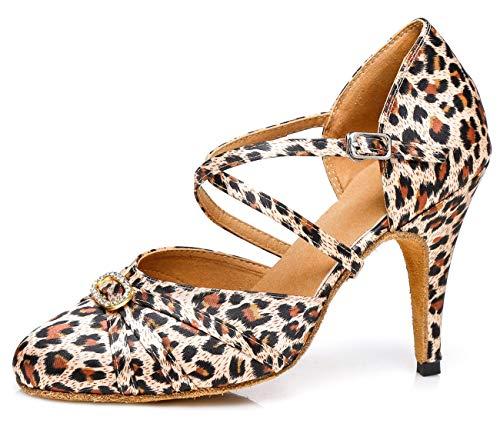 MINITOO Damen Latin Salsa Ankle Strap Leopard Satin Tanzschuhe Hochzeit Prom Pumps EU 36 Leopard Satin Pumps