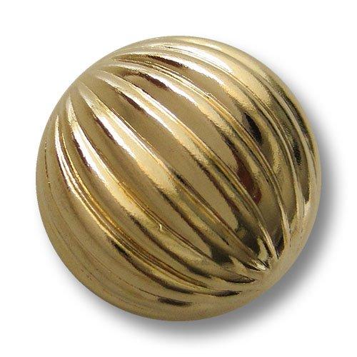 Set glänzend goldfarbene stark gewölbte Halbkugelknöpfe aus leichtem Metallblech mit plastischem Rillen Muster / Goldfarben glänzend / Metallknöpfe / Ø ca. 23mm (Rille Jacke Kostüme)