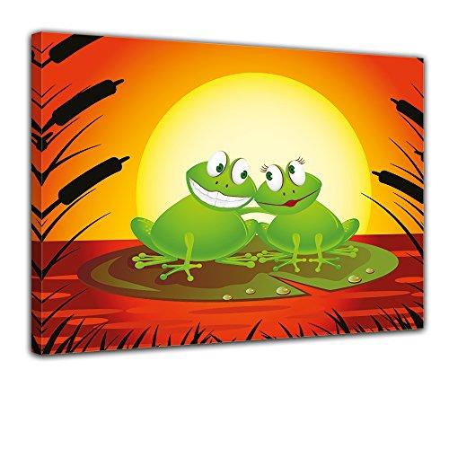 Kunstdruck - Kinderbild Verliebter Frosch Cartoon - Bild auf Leinwand - 60x50 cm - Leinwandbilder -...