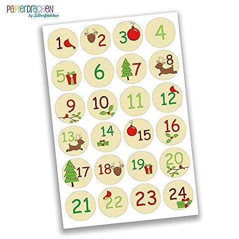 Calendrier Personnalise - 24 Numéro de calendrier de l'Avent Stickers