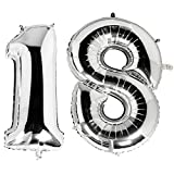 Trixes 1 Meter Grosse Luftballons Zum 18ten Geburtstag in Metallic Silber Nummer Silberfolie Ballons für Überraschungspartys Feste und Feiern