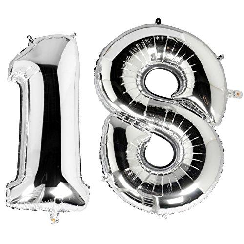 e Luftballons zum 18ten Geburtstag in Metallic Silber Nummer Silberfolie Ballons für Überraschungspartys Feste und Feiern (18 Geburtstag Themen)