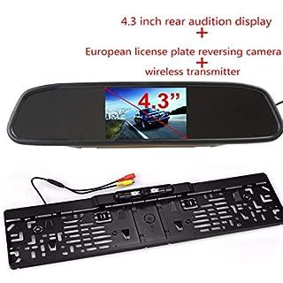 VIGORFLYRUN PARTS LTD 4,3 Digital LCD Spiegel Auto Monitor Wireless Infrarot Europa Nummernschild Rahmen Unterstützung mit 4LED Rückfahrkamera Einparkhilfe System