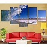 zlxzlx (Nessuna Cornice) Home Decor Canvas Painting 5 Pezzi HD Stampe Wall Art Sea Wave Paesaggio Modulare per Bedside Background Pictures Artwork Poster