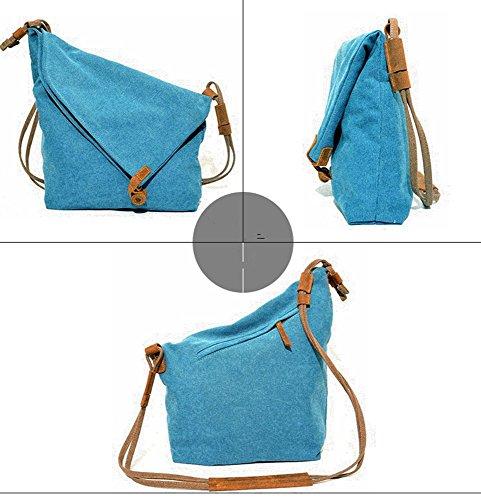 YAAGLE Damen Schultertasche Leinwand Unisex Umhängetasche retro Messenger Bag Mädchen Handtasche Canvas Tasche Herren Büffelleder Geldbörse blau