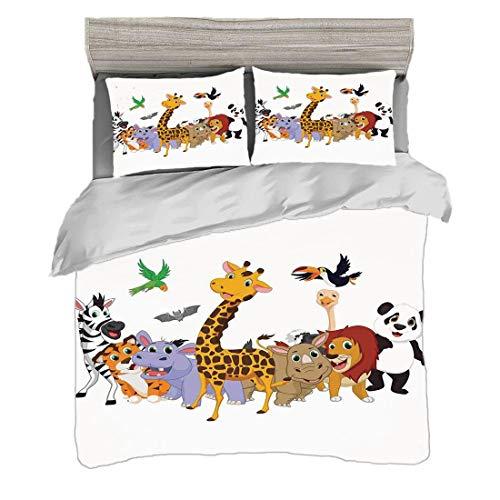 Bettwäscheset (200 x 200 cm) mit 2 Kissenbezügen Kinder Digitaldruck Bettwäsche Bunter Dschungel-Tier-Flusspferd-Schläger-Papageien-Giraffen-Zebra-Nashorn Panda African Safari Themed Decorations Decor