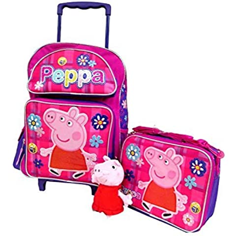 Peppa Pig Large 16 Backpack Book Bag, Lunch Box & 7 Clip On Plush Doll by Bag2School