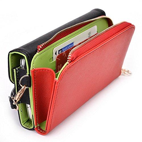 Kroo d'embrayage portefeuille avec dragonne et sangle bandoulière pour Sony Xperia T2Ultra Green and Pink Noir/rouge