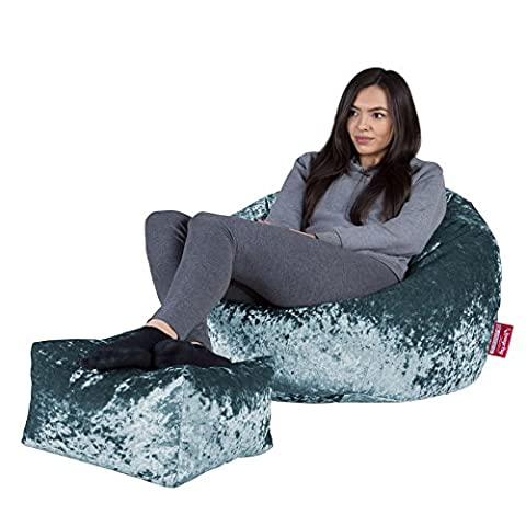 LOUNGE PUG - Shimmering VELVET - Bean Bag Chairs - CLASSIC Gaming Chair Beanbags - TEAL BLUE