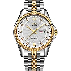 BOS Men's Mechanical Texture White Dial Gold Case Stainless Steel Band Wrist Watch 9012